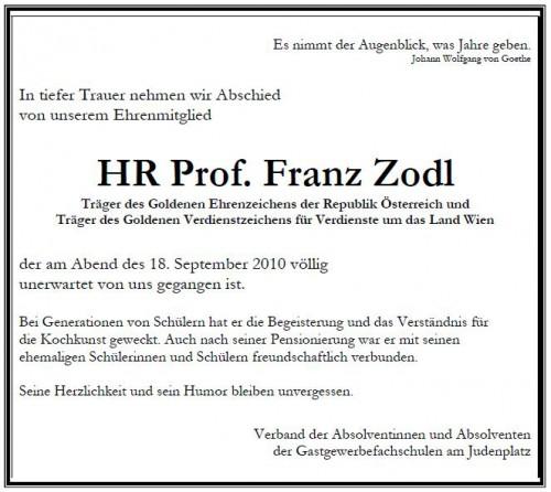 In Memoriam HR Prof. Franz Zodl